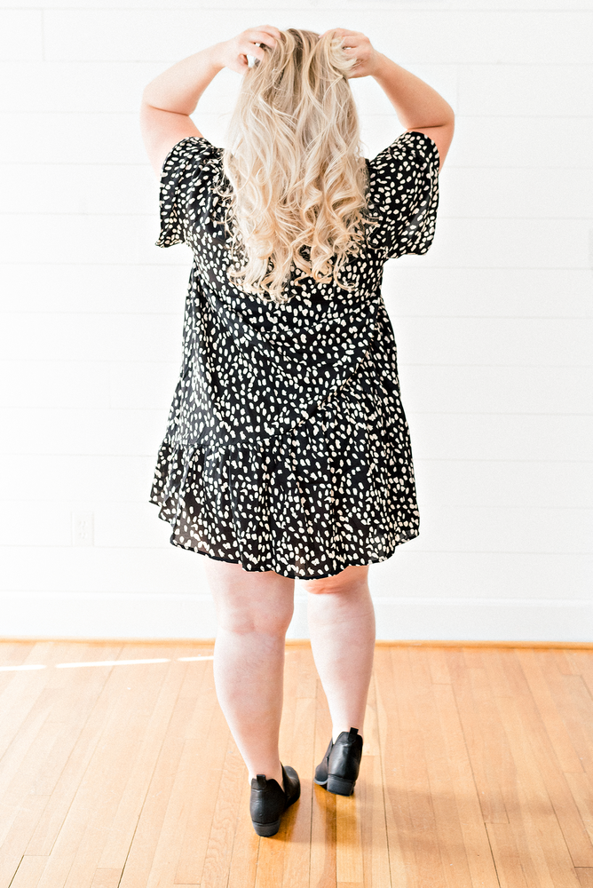 The Sara Ashlee-Dotted Asymmetrical Ruffle Mini Dress- PLUS SIZE