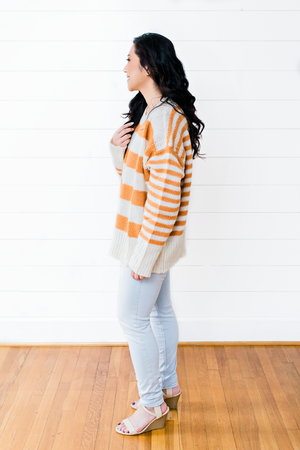 The Sara Morris- Orange Stripe Knit Sweater