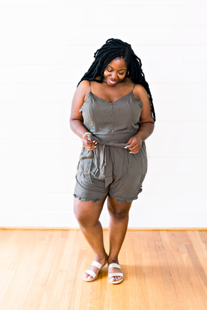 The Shanna Battle- Olive Button Front Romper- PLUS SIZE