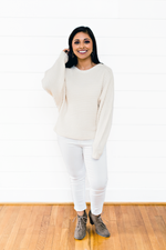 The Shanna Skidmore- Cream Ribbed Textured Sweater