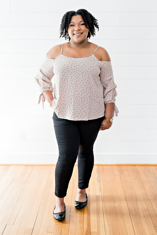 The Shyakela Lydia- Taupe Polka Dot Cold Shoulder Top- PLUS SIZE