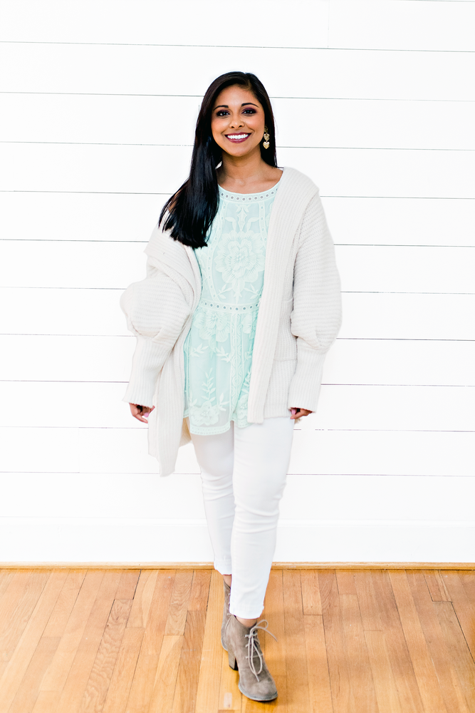 The Tiffany Tolliver- Cream Ribbed Textured Open Cardigan with Dolman Sleeves