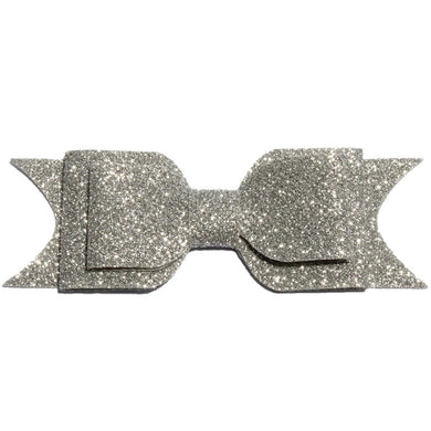 Large Glitter Bow Clip - Silver
