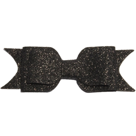 Large Glitter Bow Clip - Black