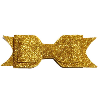 Large Glitter Bow Clip - Gold