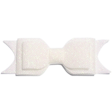 Large Glitter Bow Clip - White