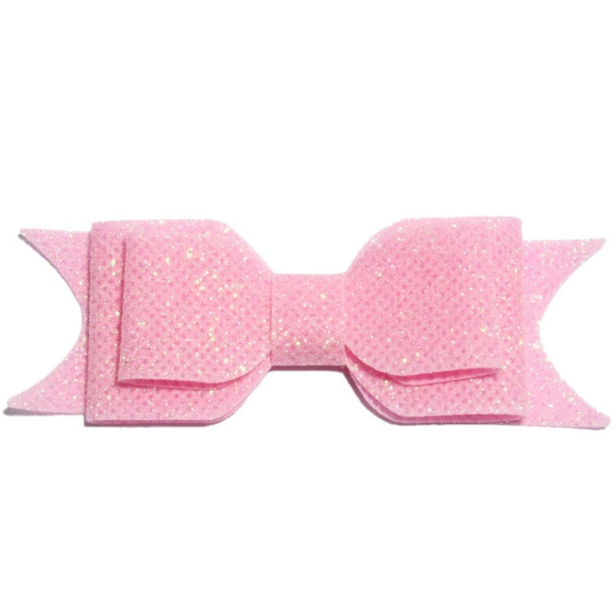 Large Glitter Bow Clip - Light Pink