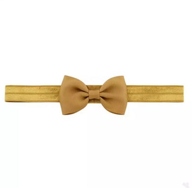 Plain Bow Headband - Mustard