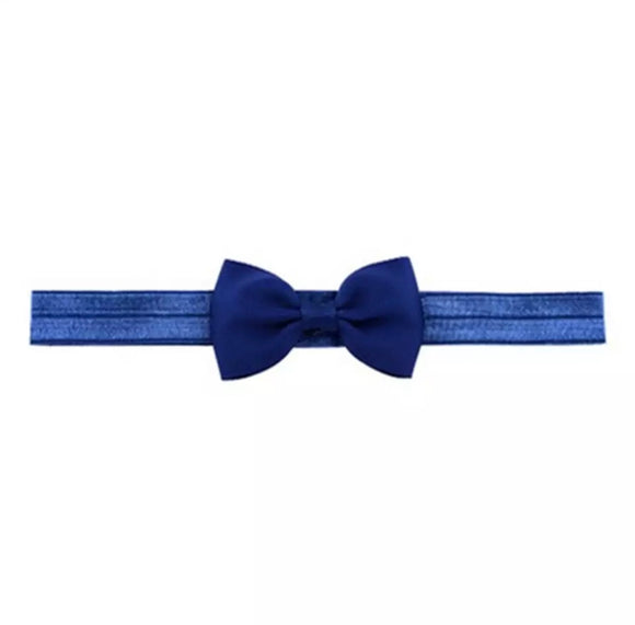 Plain Bow Headband - Navy Blue