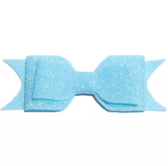 Large Glitter Bow Clip - Sky Blue