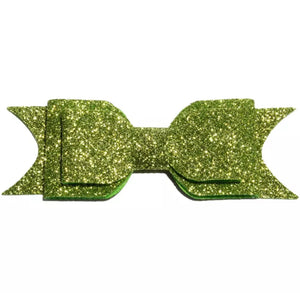 Large Glitter Bow Clip - Green