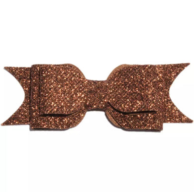Large Glitter Bow Clip - Coffee