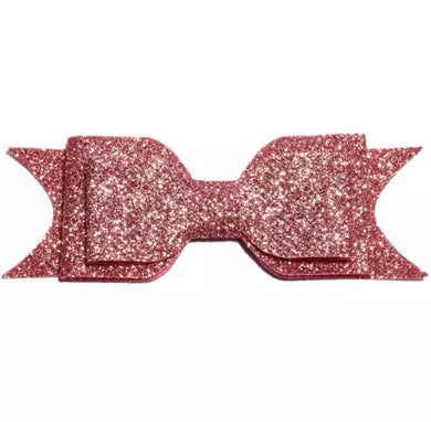 Large Glitter Bow Clip - Dusty Pink