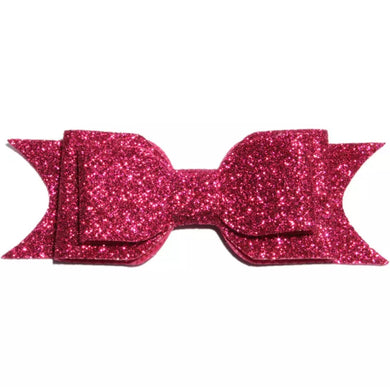 Large Glitter Bow Clip - Hot Pink