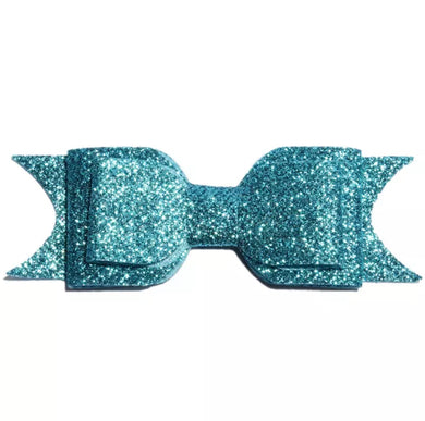 Large Glitter Bow Clip - Turquoise