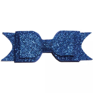 Large Glitter Bow Clip - Royal Blue