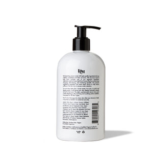 Backside of 16oz black and white hand lotion / body lotion by FORK & MELON