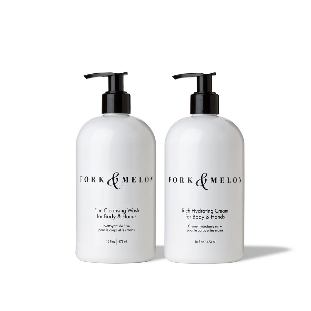 Set of black & white 16oz hand/body wash and cream by FORK & MELON