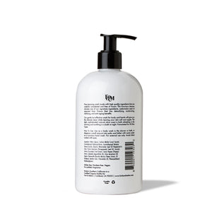 Backside of 16oz bottle of black and white hand soap and body wash by FORK & MELON