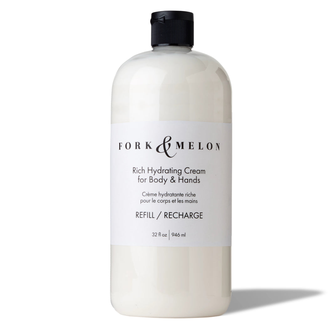 Organic hand and body lotion refill bottle by FORK & MELON