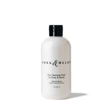 Load image into Gallery viewer, small black and white luxury organic body wash with flip top cop