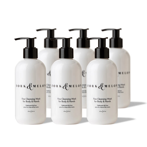 6-pack of black & white 8oz FORK & MELON hand/body wash bottles