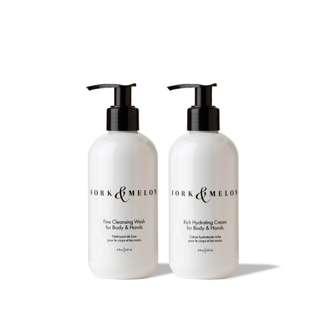 8oz FORK & MELON luxury hand/body wash and lotion set