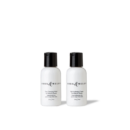 Organic luxury travel size body wash and lotion by FORK & MELON