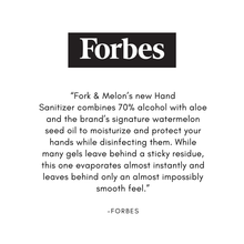 Load image into Gallery viewer, Forbes review of Fork & Melon hand sanitizer