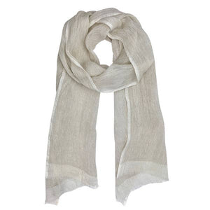 Gauze Linen Scarf - Flax/Off-White