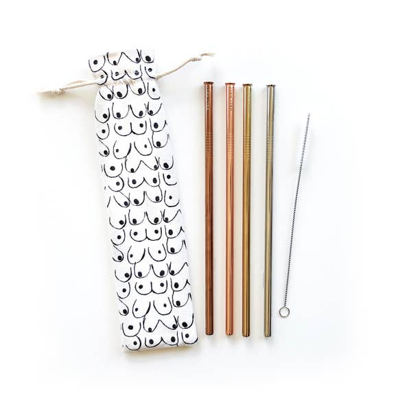Love Your Body Reusable Straws - 6 Piece Set
