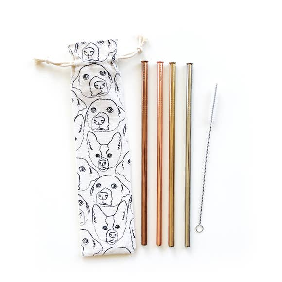 Love Your Dog Reusable Straws - 6 Piece Set