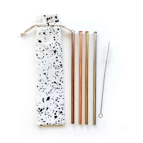 Eco Friendly Reusable Straw 6 Piece Set - Splatter