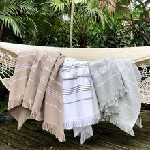 Load image into Gallery viewer, Classic Black Stripe Turkish Towel