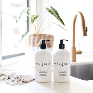 FORK & MELON luxury hand wash and lotion by the kitchen sink