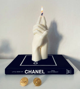 """Us"" Candle by Bonam Kim on Chanel coffee table book"