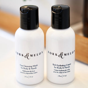 Non toxic hand/body wash and lotion travel size set by FORK & MELON