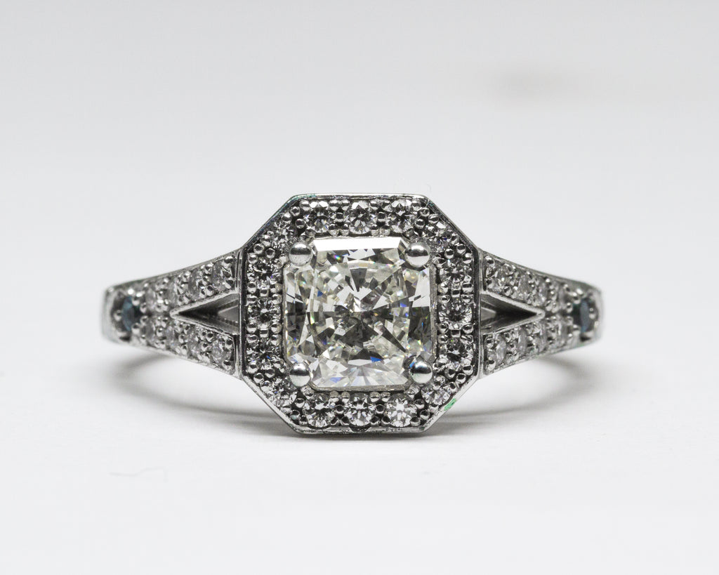 Diamond Engagement Split Shank Ring with Aquamarine Accent