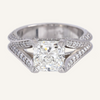 Princess Cut Diamond Engagement Split Shank Ring