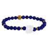 Rough Clear Quartz & Lapis Gemstone Bracelet