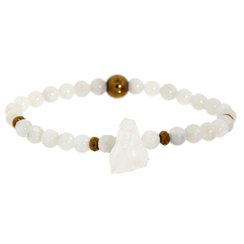Rough Clear Quartz & Moonstone Gemstone Bracelet