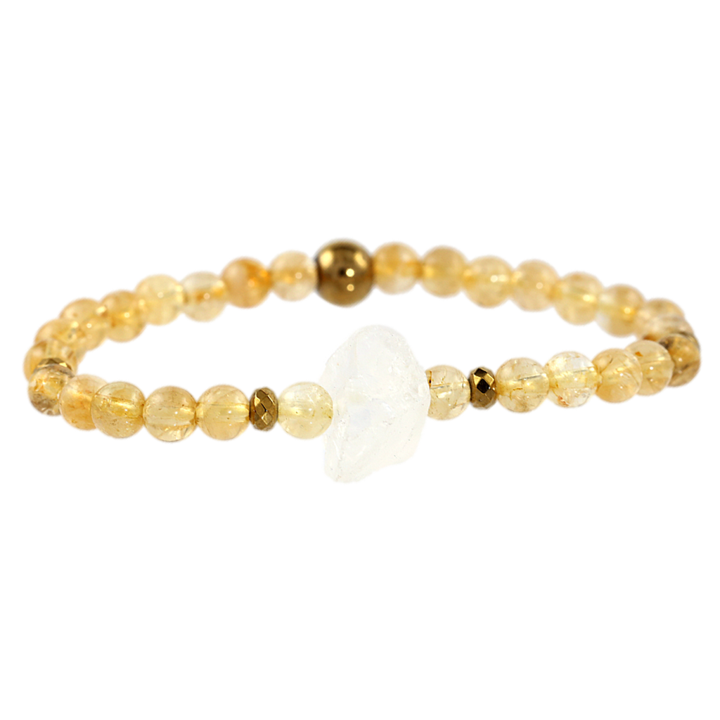 Rough Clear Quartz & Citrine Gemstone Bracelet