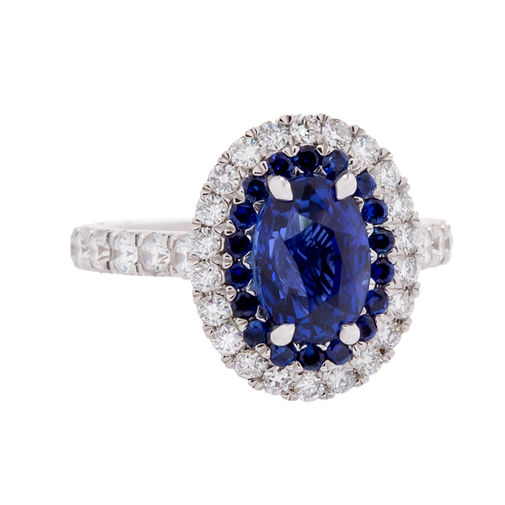 Unheated Ceylon Sapphire Ring with Diamond Halo