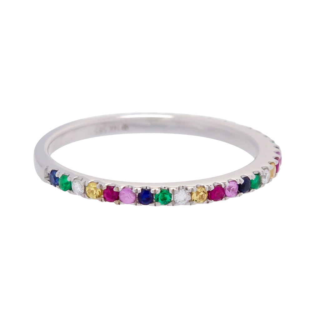 Rainbow Sapphire and Diamond Band
