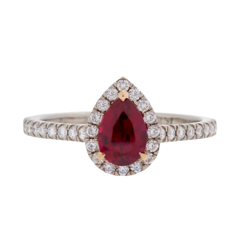 Unheated Ruby Ring with Diamond Halo