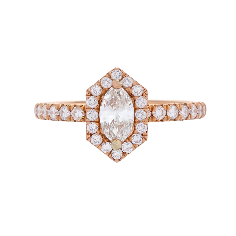 Marquise Diamond Ring with Geometric Halo