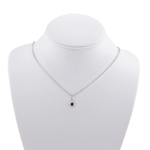 Sapphire and Diamond Floral Art Deco Necklace