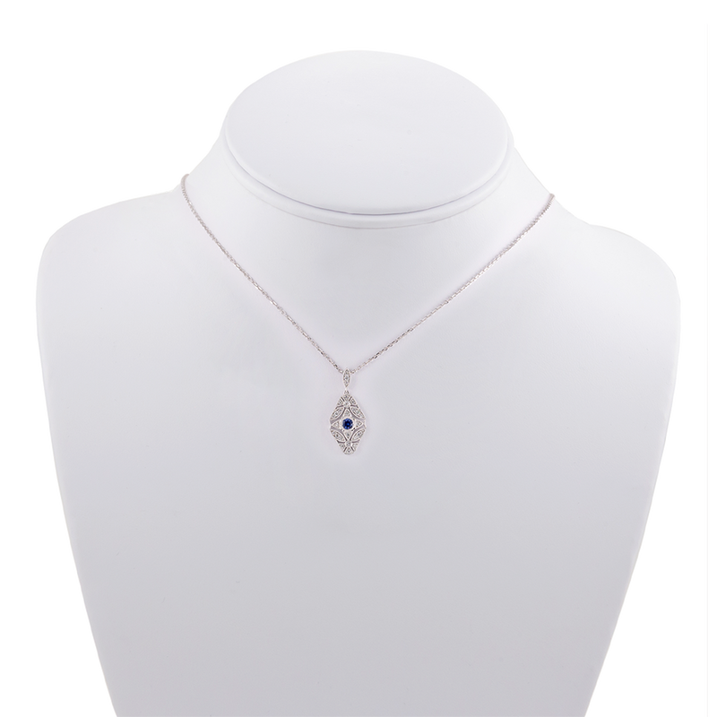 Sapphire and Diamond North-South Art Deco Necklace