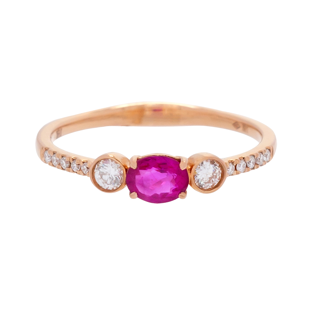 3-Stone Ruby and Diamond Ring