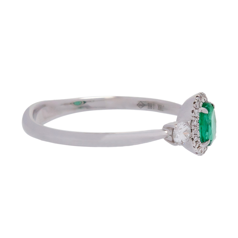Oval Emerald Ring with Diamond Halo